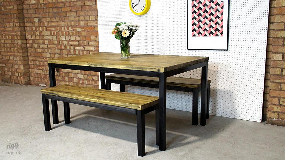 Industrial Dining Table And Benches