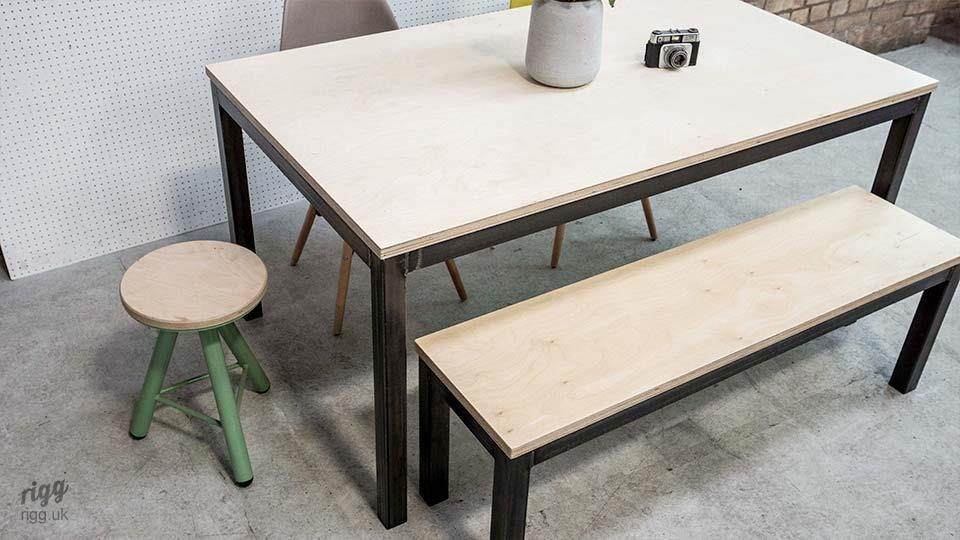 Industrial Plywood Dining Table & Bench