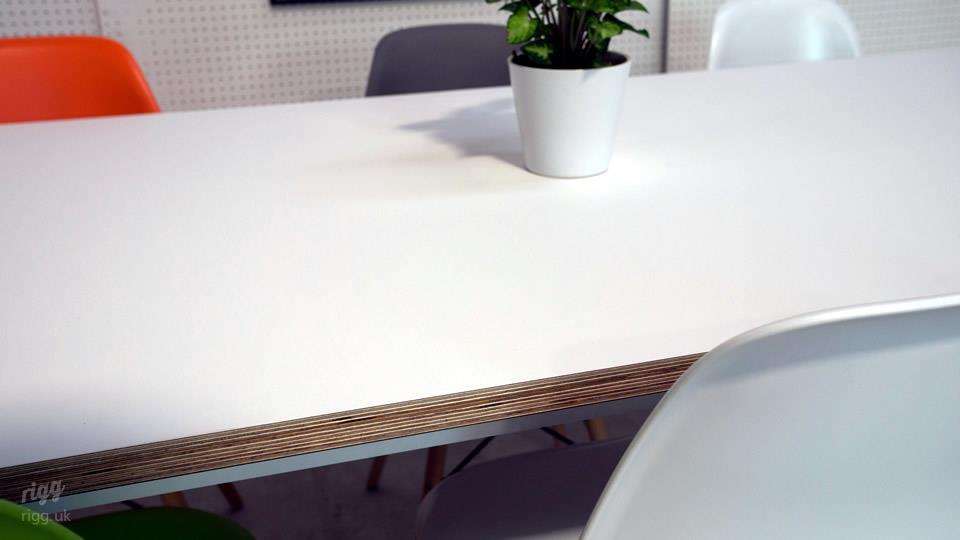Matt White Birch Plywood Dining Table