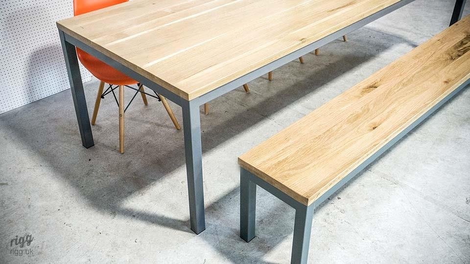 Modern Oak Dining Table with Bench