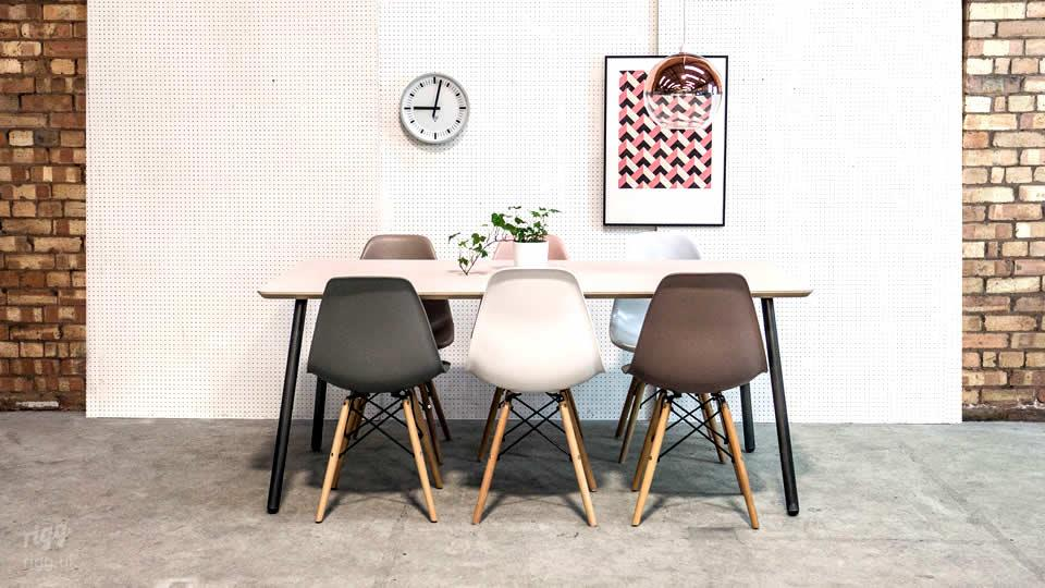 Modern Table Round Tubular Legs