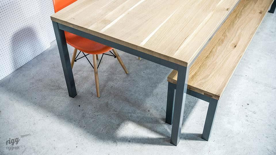 Oak Dining Table Bench Grey Legs
