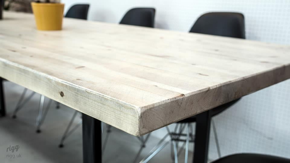 Solid Wood Dining Table & Bench Metal Legs