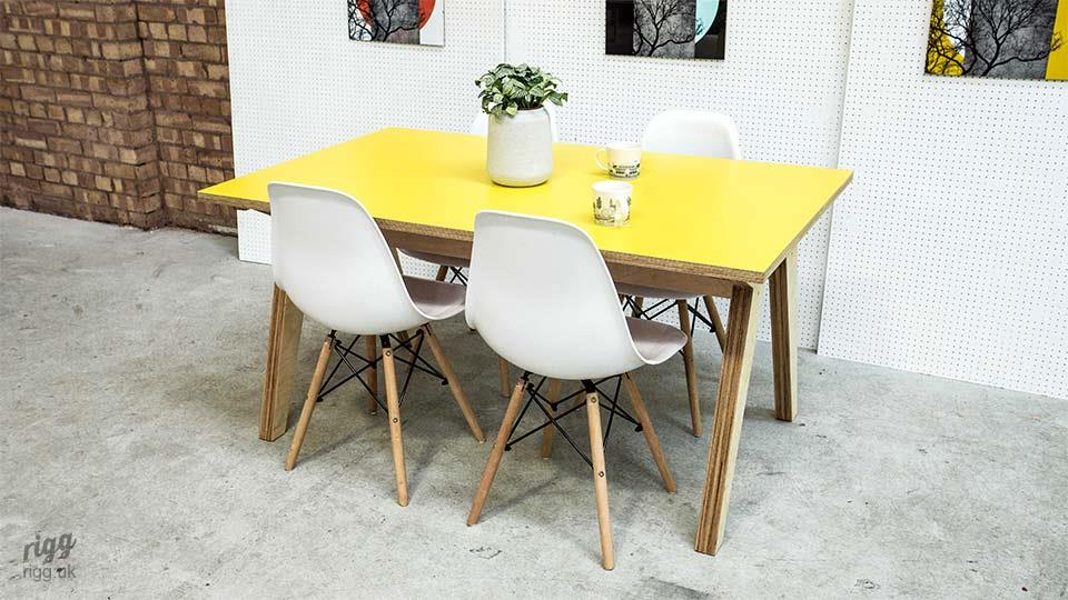 Synk Yellow Plywood Dining Table