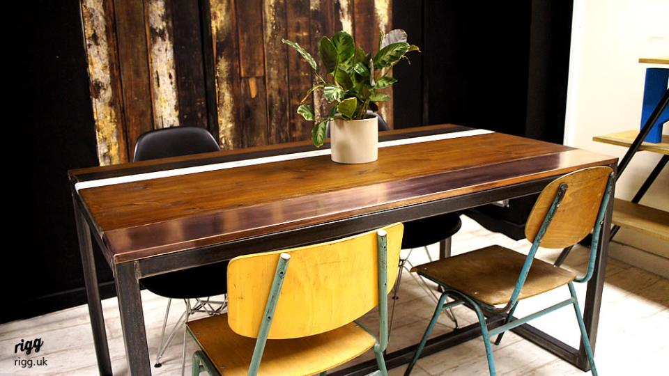 wood copper top dining table - Copper Kitchen Table