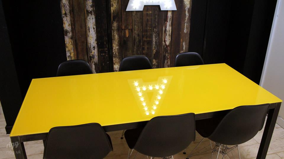 Yellow Glass Table