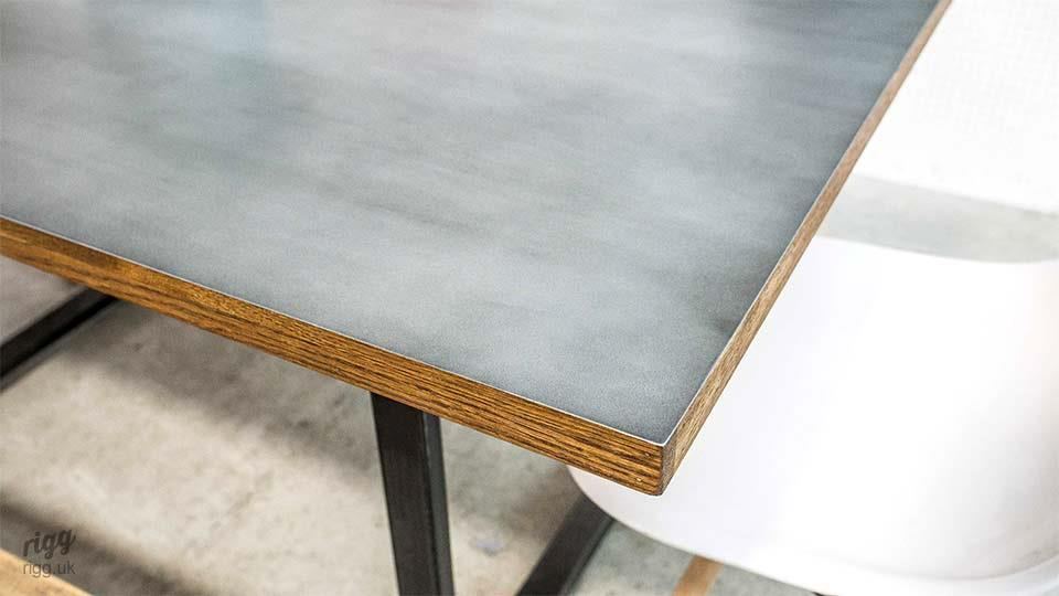 Zinc Top Table Wood Edge